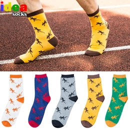 ящерица Скидка cotton cartoon animal Jacquard novelty men socks lizard gecko pattern comfortable pure socks  Embroidery happy long