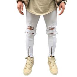 0daf3158b0bd1 White Zipper Jeans Men Slim Ripped Jeans Mens Hip Hop Patch Stretch Pants  with biker Joggers Streetwear Distressed