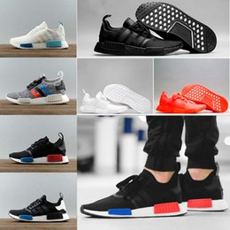 Wholesale 3m Shoes Laces - 2018 NMD R1 Again Triple black White red pk 3M Primeknit Men Women nmds Running Shoes sports Shoes Sneakers size 36-45