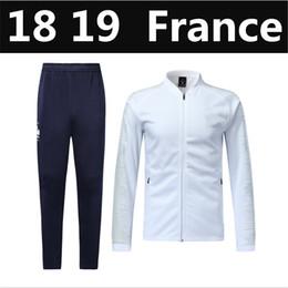 Wholesale shop kits - top quality 2018 world cup France POGBA GRIEZMANN MBAPPE Adult Jacket kit 18 19 Outdoor sports suit men TRACKSUIT SPORTSWEAR free shopping