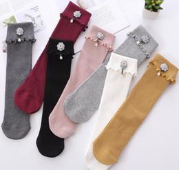 Wholesale stereo socks - Children socks sweet girls stereo flowers pearl pendant princess socks kids ruffle knee high sock girls cotton knitting stockings leg Y4292