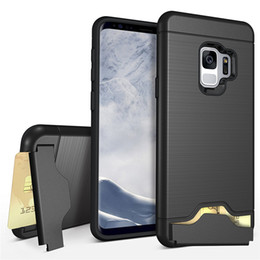 Wholesale Dual Layer Armor Case - Dual Layer Card Slot Case For Samsung Galaxy S9   S9 Plus Cover Silicone Bumper Shockproof Armor Hard Back With Kickstand