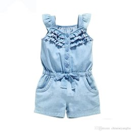 Wholesale Overall Jeans Baby - Girl Dungarees Overalls Denim Blue Summer Baby Clothes Cotton Rompers Wash Jeans Sleeveless Bow-Knot Gilrs Jumpsuit Suspenders Pants