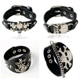 db55bd4ff84e 2018 skull men bracelet Punk Schwarz Leder armband herren vintage harley  motorrad schädel skelett charms Biker