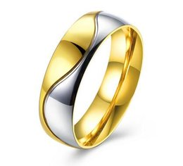 Wholesale Christmas Ornaments Personalize - Free shipping TAMIA brand Wholesale Jewelry Rings Titanium Steel Series Lovers ring male gold ornament Personalized Steel Ring for menTGR134