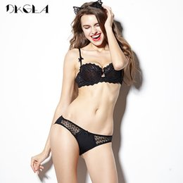 3cc5226e4 Black Plus Size Bra Set Half Cup Brassiere Embroidery Lingerie Set Sexy Bras  A B C D Cup Transparent Underwear Sets For Women