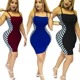 girls skirt slip Promo Codes - Women Summer Midi Pencil Dresses Trendy Sexy Club Plaid Braces Skirt Bodycon Stretch Skirt with Shoulder-straps Slip Dress Camisole For Girl