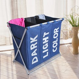 Wholesale Laundry Products - Laundry Basket Three Grid Foldable Removable Dirty Clothes Basket Fashion Oxford Waterproof Bathroom Product Storage Basket Box