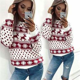 Damen hirsch pullover online-Frauen Weihnachten Tag Deer Printed Lady Jumper Gestrickte Pullover Pullover Tops Mantel Warme Kurze Freizeitkleidung