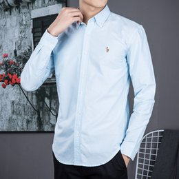 Polo casual para hombres online-Camisa POLO de manga larga para hombre Otoño vestido de primavera camisa casual de POLO para hombre camisas de caballo pequeño camisa social de moda manga larga de negocios