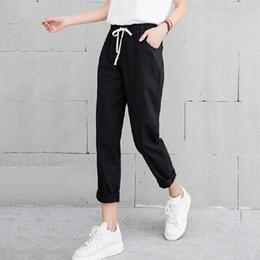 FemmeVente Pantalons Promotion En Noir Lin 0nP8wkO