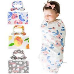 2019 recém-nascido orgânico Bebê recém-nascido Swaddling Cobertores com Orelhas de Orelha de Coelho Do Bebê Swaddle Envoltório Floral Cobertor Hairband Set Bebê envoltório de Algodão pano Livre Dhl BHB18