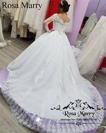 802534fba1cc Abiti da sposa maniche lunghe in pizzo abito da sposa 2018 Princess Vintage  bianco arabo musulmano inverno abiti da sposa economici paese Vestido De  Novia
