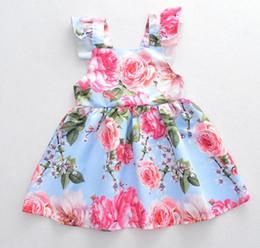 Girl clothing dress full flower print suspender dress summer sleeveless girl dress