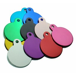 Wholesale small dog tags id - Wholesale 100Pcs Round Dog ID Tags Personalized Engraving Pet ID Tags Tag Cat Aluminum Customized Name Address Phone Text Tag