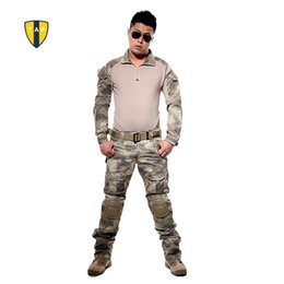 Wholesale multicam clothing - US Tactical Camouflage Military Uniform Army Suit Combat Shirt Multicam Military Shirts Knee Pad Pants Paintball Hunting Clothes