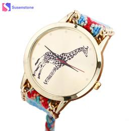 Браслет из жирафов онлайн-Wavors Vintage Bracelet Wrist Watch for Women Ladies Giraffe Pattern Weaved Rope Band Bracelet Quartz Watch Free shipping