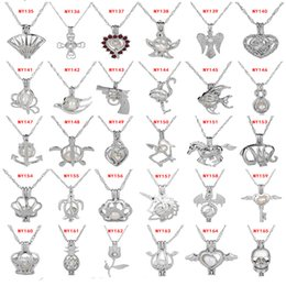 Wholesale Jewelry Pendant Diy - Love Wish Pearl Cages Pendant Necklace 63 Styles Hollow Out Oyster Pearl Locket Necklace Freshwater Pearl Mermaid Sea Horse DIY Jewelry