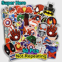 Wholesale Doodle Stickers - 50 PCS Super Hero Cartoon Sticker for Laptop Lage Bags Bike Phone Car Styling Cool Stickers Toys Doodle PVC Creative Decals