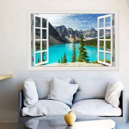 Wholesale Tree Window Art Decals - 3D Wall Sticker PVC Decals Modern Landscape Green Tree Wall Art Creative Window View Home Decoration Accessories for Living Room