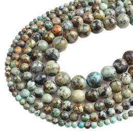 Wholesale black stone cube - 8mm Natural African Turquoises Stone Round Loose Beads 4 6 8 10 12mm Fit DIY Charms Bracelet Beads For Jewelry Making