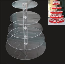 Negozi di cupcake online-Esposizione acrilica rotonda del dessert del bigné di 5 acrilico rotondo di vendita per la decorazione del negozio della torta della festa nuziale di compleanno