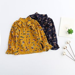 Wholesale Girls Korean Kid T Shirt - Everweekend Kids Girls Korean Puff Sleeves Trimmed Tops Print Feather Western Ruffles T-shirt Spring New Blouse