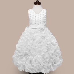 Wholesale Embroidered Dress Pearls - New flower girl dress skirt pearl bead flower embroider decorate sleeveless dress