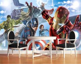2019 Décoration Merveilleuse Avengers Garçons Chambre Photo Papier Peint  Personnalisé 3D Murales Marvel Comics Fond D