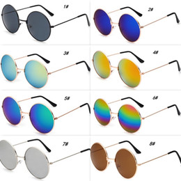 cheap color sunglasses Promo Codes - Fashion Metal Round Sunglasses Cool Men Round Frame Sun Glasses With Mirror Lenses 9 Colors Children Sun Glasses Cheap Wholesale