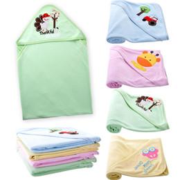Wholesale Baby Boy Bath Robe Animal - Cotton newborn baby blanket swaddle stroller blanket unsex for infant boys and girls hooded baby blanket bath towel wrap robe