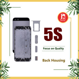 Wholesale Iphone 5s Apple Logo - Back Housing Battery Cover Coque for iPhone 5S with LOGO & Buttons & Sim Tray +Custom IMEI Fundas Chassis Rear Door Case Middle Body Panel