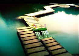 Canada Peintures murales en pvc cascade plancher 3D océan monde plancher de revêtement de sol adhésif supplier adhesive wall coverings Offre