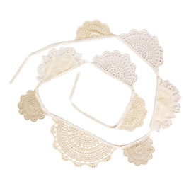 Wholesale Burlap Bunting - Wholesale-Wedding Vintage Bunting Rustic Hessian Burlap Banner Lace Fabric Pennant Garlands Wedding Decoration Party Supplies