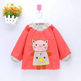 Wholesale Tie Dye Clothes Wholesale - Velvet Cartoon Baby Bibs Waterproof Long Sleeve children clothing overall Clothes Burp outwear Baby Eating Clothes