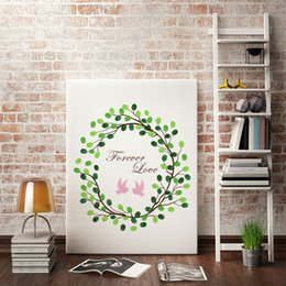 Wholesale Signature Books - MYT 1 Piece Personalized Customized Fingerprint Canvas Painting Guest Book DIY Figure Poster Picture Creative Signature Art Decor