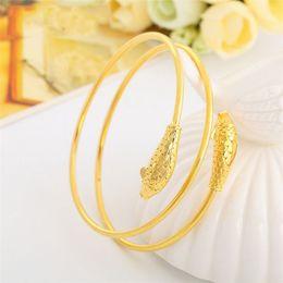 Patrón de pescado doble brazalete de alambre 18k oro amarillo relleno mujeres de la boda brazalete pulsera presente regalo hermoso desde fabricantes