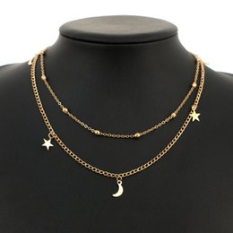 Wholesale multilevel necklace - Brand New Womens charm Fashion jewelry Multilevel simple and delicate Gold necklace, moon and Star Necklace 120pcs lot drop shipping