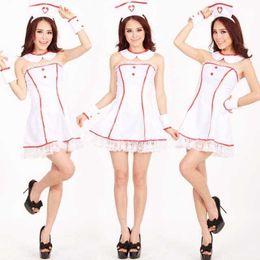 Livraison gratuite New sexy lingerie cosplay Halloween maille blanche jupe infirmière vêtements Tube top sexy femmes infirmières cosplay tentation uniforme ? partir de fabricateur