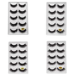 2019 taiwan faux cils 5 paires / set 3D Vison Faux EyeLashes Main En Plastique Naturel Noir Coton Pleine Bande Épaisse Faux Cils Cosmétique