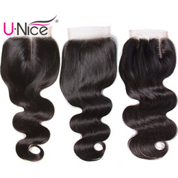 Wholesale 4x4 Lace Frontal - UNice Hair Closures Brazilian Body Wave Closure Free Part 8a Virgin Human Hair 4x4 Lace Closures Peruvian Remy Hair Indian Malaysian