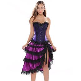 bustiers in raso viola Sconti Viola corsetto di pizzo sexy abito corsetto gotico corsetti e bustier Plus Size costumi burlesque Victorian Korse Korsett per le donne