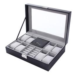2019 relojes mixtos 8 + 3 rejillas mixtas Caja de cuero Caja de cuero Organizador de almacenamiento Caja de joyería de lujo Exhibición del anillo Cajas de relojes Calidad negra 2 en 1 relojes mixtos baratos