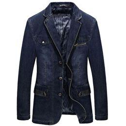 мужские костюмы с контрастными цветными лацканами Скидка New Blazer Men Cotton Denim Smart Casual Men Jacket Slim Fit Suits  Clothing Plus Size M-XXXL