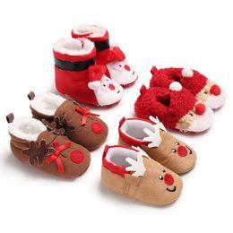 5ed46830ec0 Christmas Shoes Toddler Baby Boys Girls Boots Santa Claus Elk Winter Warm  Fur Soft Sole Boots Cute Cotton Prewalker Sneakers