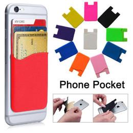 fundas de bolsillo para teléfonos celulares Rebajas Teléfono titular de la tarjeta de silicona titular de la tarjeta de bolsillo Teléfono celular Funda de crédito titular de la tarjeta de identificación de bolsillo Stick On 3M adhesivo AAA992