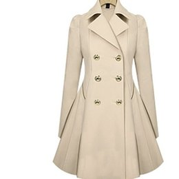 Donne trench xs cotone online-All'ingrosso 2017 nuove donne primavera autunno casual in cotone trench coat solido colletto turn-down manica lunga sottile moda donna cappotto capispalla