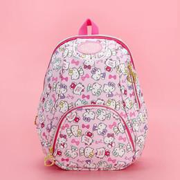 Nueva historieta genuina Hello Kitty Mochila mochila de alta calidad Pu Pink Children Primary School Bag bolsa de viaje para niñas regalo desde fabricantes