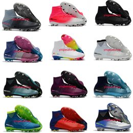messi botas negras baratos Rebajas Nuevos Hombres Superfly CR7 V FG AG Botas de fútbol Cristiano Ronaldo Tops altas Neymar JR ACC Zapatos de fútbol Magista Obra Botines de fútbol