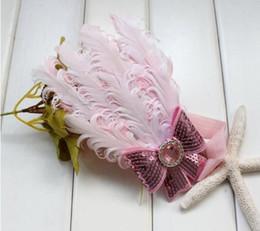 2019 rose hairband Bandeau en plumes roses avec bandeau en forme de bandeau léger pour filles rose hairband pas cher